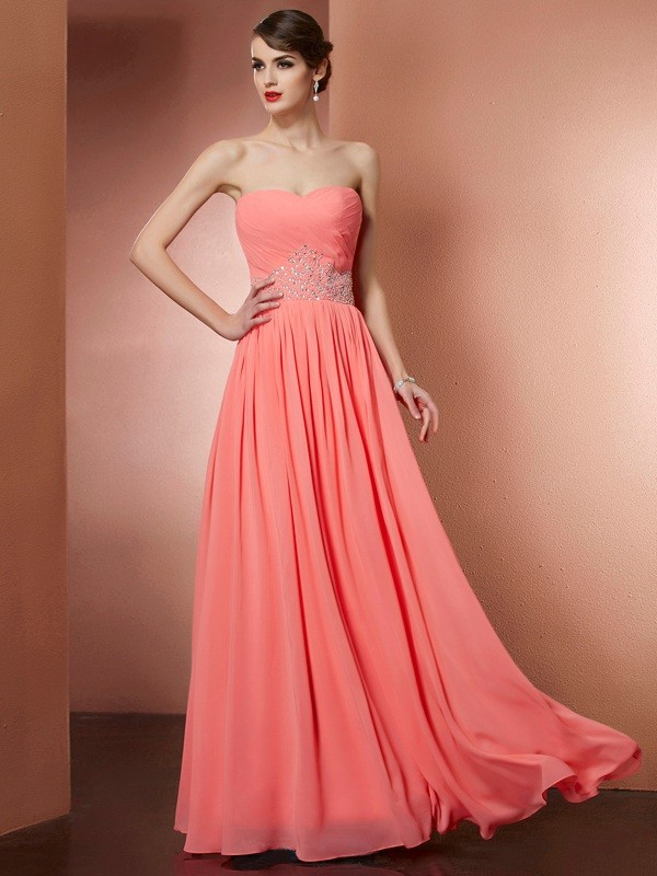 A-Line Strapless Floor-Length Watermelon Prom Dresses