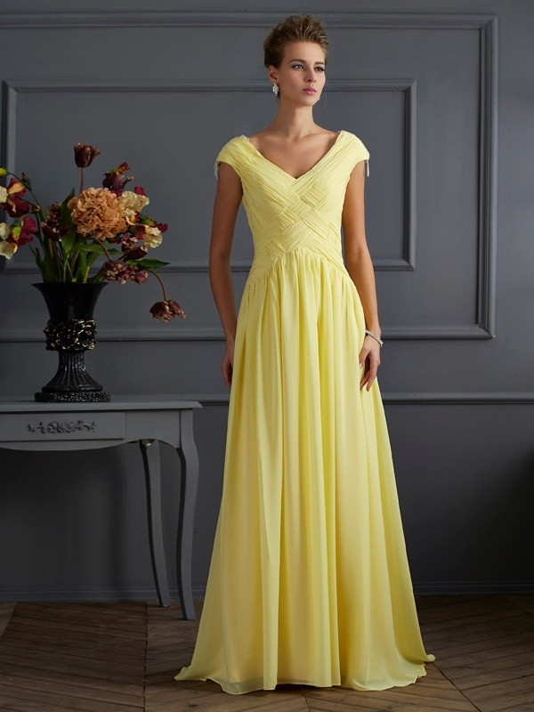 Daffodil A-Line V-neck Brush Train Prom Dresses with Beading