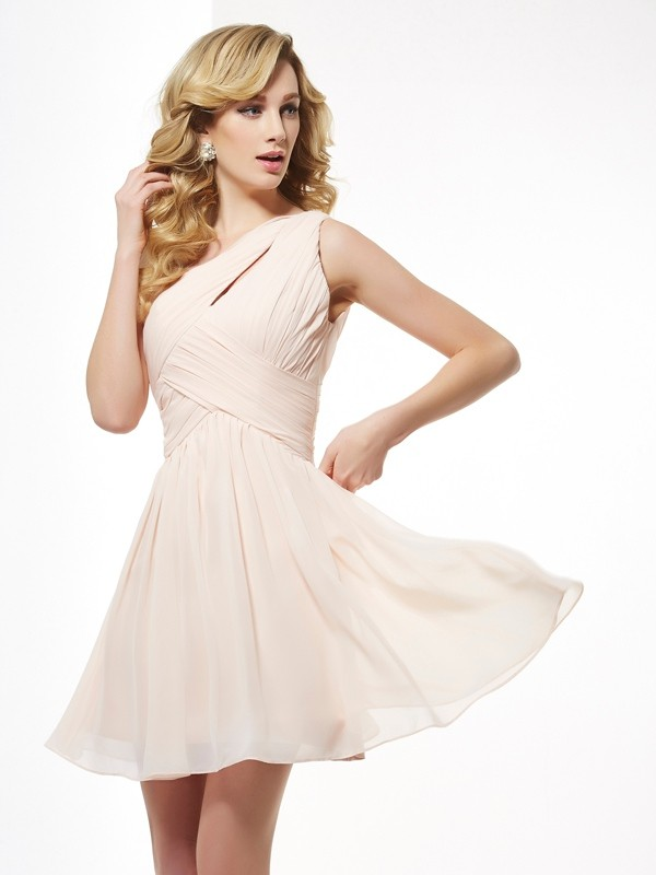 Champagne One-Shoulder Chiffon Short/Mini Homecoming Dresses
