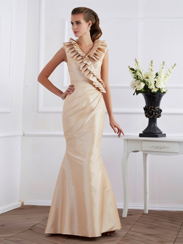 Sheath V-neck Floor-Length Champagne Prom Dresses with Ruffles