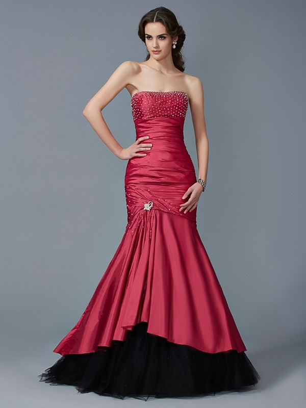 Mermaid Strapless Floor-Length Red Prom Dresses with Beading
