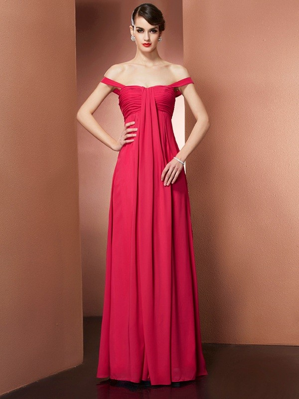 A-Line Off-the-Shoulder Long Fuchsia Prom Dresses with Beading
