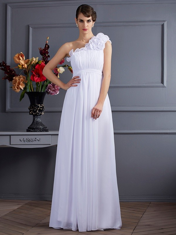 Chiffon One-Shoulder Floor-Length White Prom Dresses
