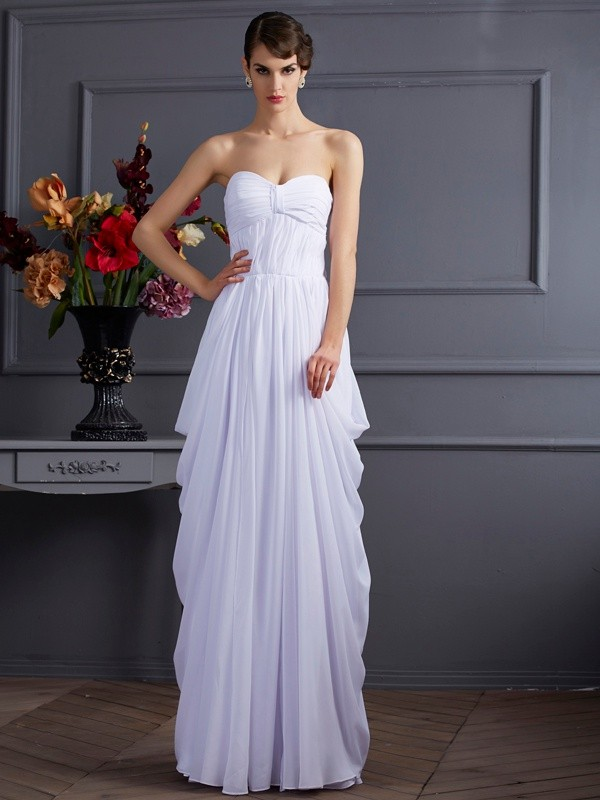 White Sweetheart Chiffon Floor-Length Prom Dresses