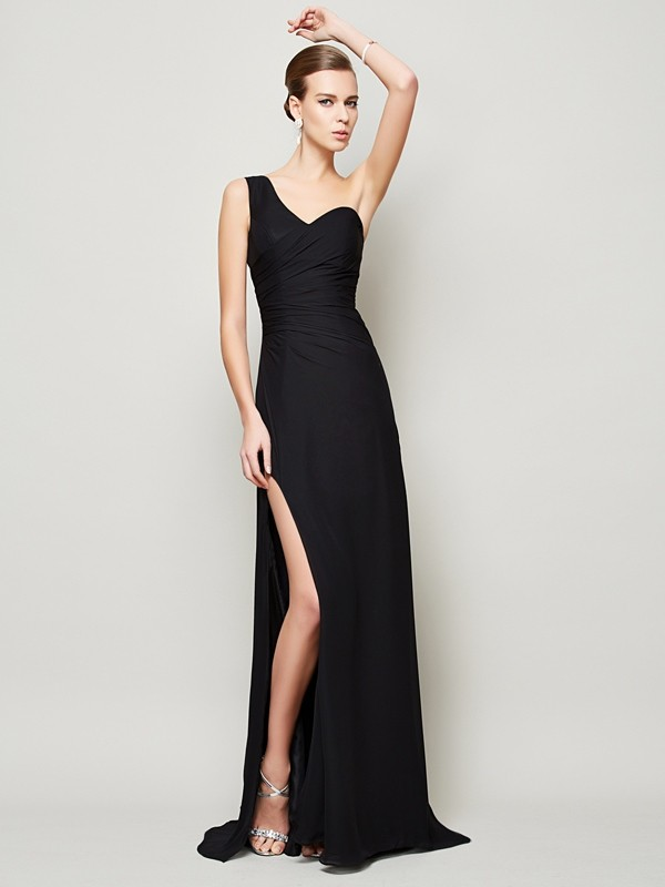 Sheath One-Shoulder Brush Train Black Prom Dresses