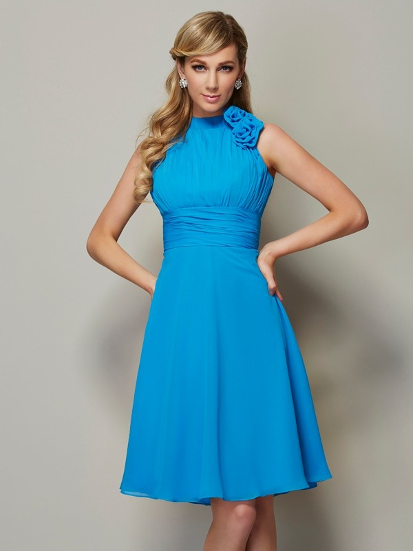 A-Line High Neck Knee-Length Blue Bridesmaid Dresses