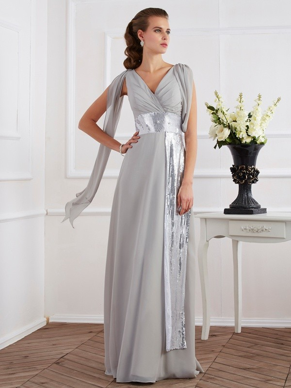 Short Sleeves Sheath V-neck Floor-Length Silver Prom Dresses
