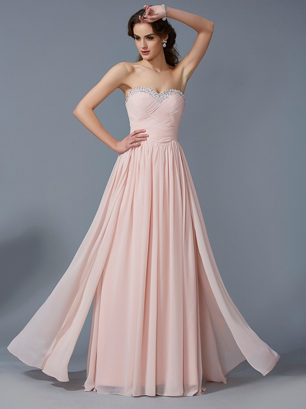 A-Line Chiffon Sweetheart Floor-Length Pearl Pink Prom Dresses