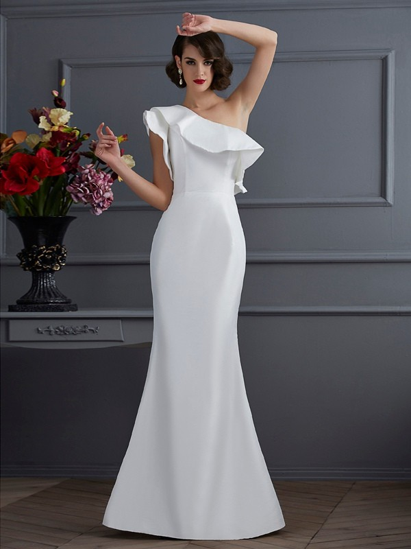 Mermaid One-Shoulder Floor-Length Ivory Prom Dresses with Ruffles