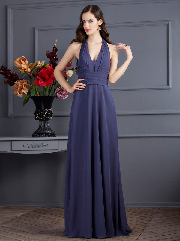 Chiffon Halter Floor-Length Grey Prom Dresses