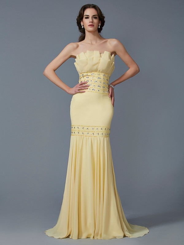 Mermaid Strapless Brush Train Daffodil Prom Dresses
