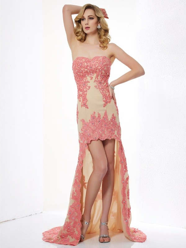 A-Line Sweetheart Asymmetrical Champagne Prom Dresses with Applique