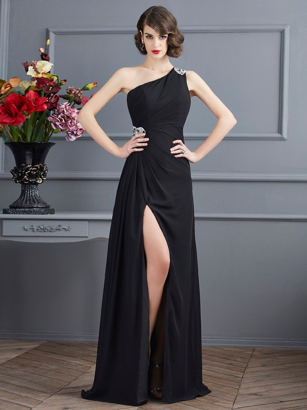 Black One-Shoulder Chiffon Floor-Length Prom Dresses