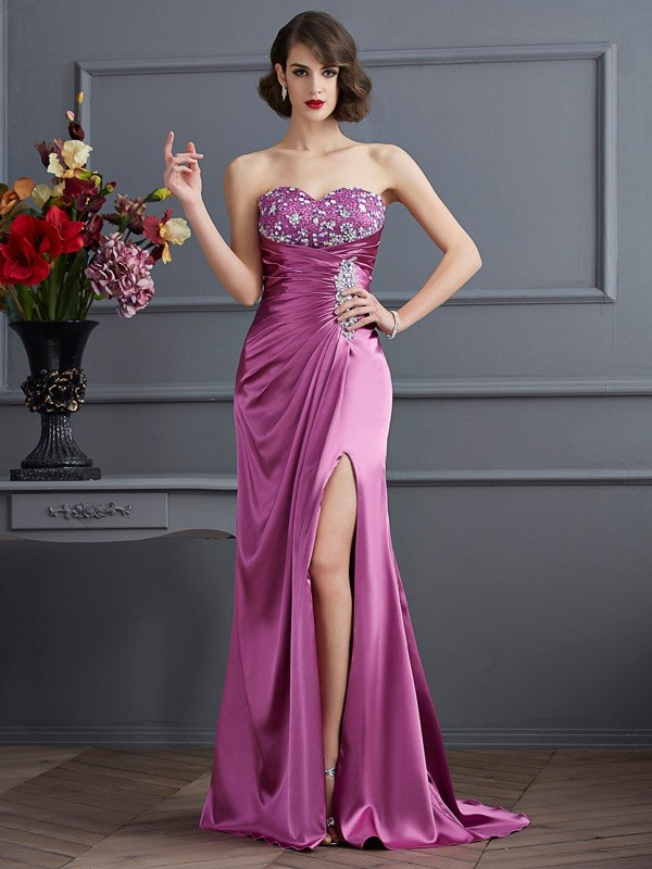 Sheath Sweetheart Brush Train Regency Prom Dresses