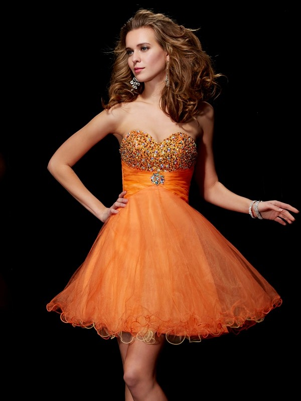 Satin Strapless Short/Mini Orange Homecoming Dresses