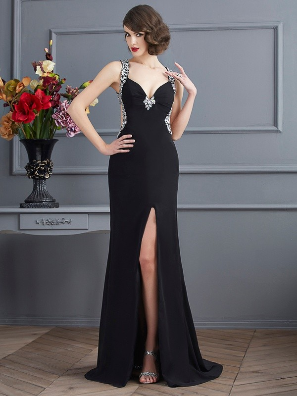Black Straps Chiffon Brush Train Prom Dresses