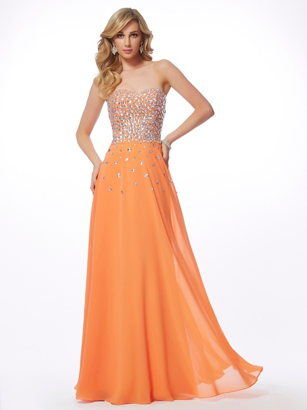 Sweetheart Floor-Length Orange Prom Dresses with Rhinestone