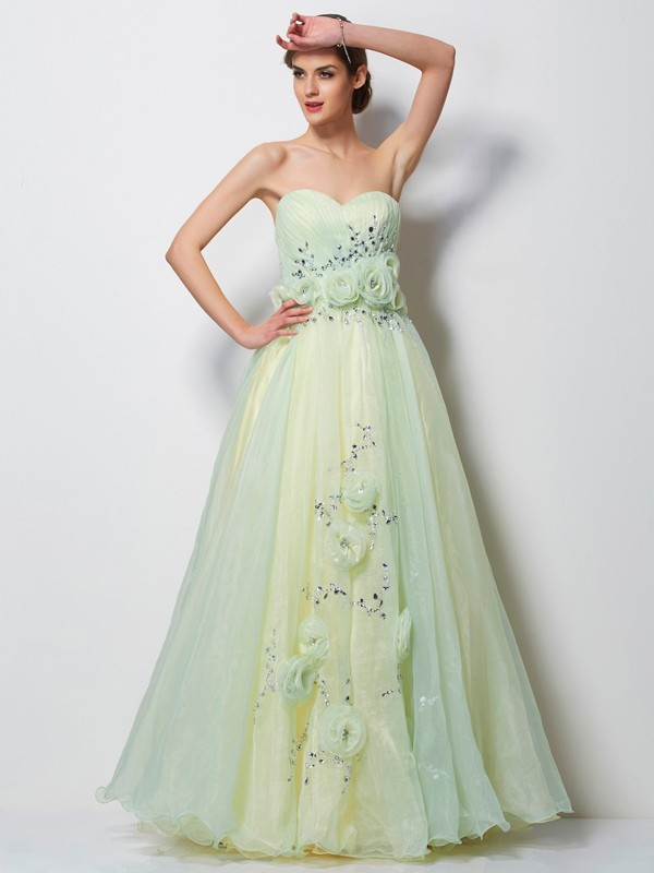 A-Line Satin Sweetheart Floor-Length Sage Prom Dresses