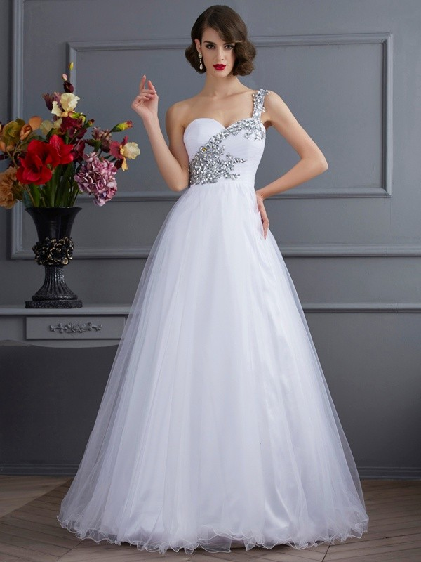 White Ball Gown One-Shoulder Floor-Length Prom Dresses with Beading
