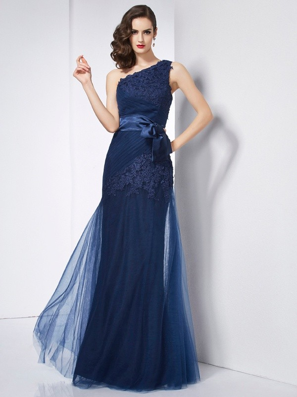 Dark Navy A-Line One-Shoulder Long Prom Dresses with Applique