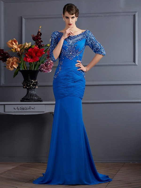 Chiffon Scoop Brush Train Royal Blue Prom Dresses