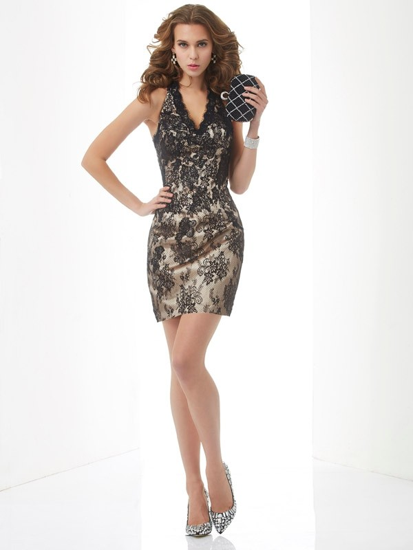 Sheath Lace Halter Short/Mini Homecoming Dresses with Lace