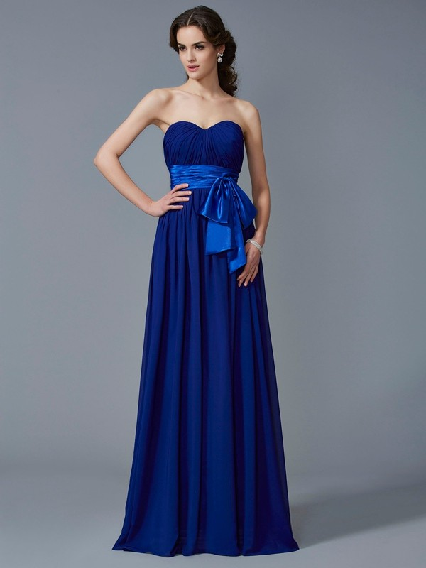 Royal Blue A-Line Sweetheart Floor-Length Prom Dresses with Pleats
