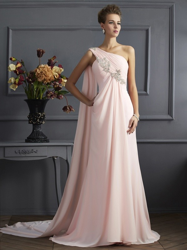 Chiffon A-Line Brush Train One-Shoulder Pink Prom Dresses