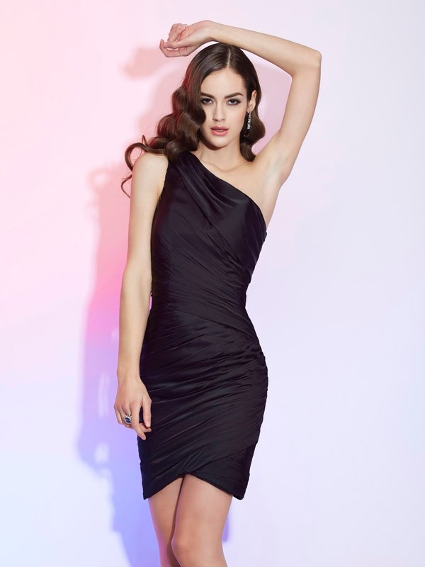 Sheath One-Shoulder Short/Mini Black Homecoming Dresses with Pleats
