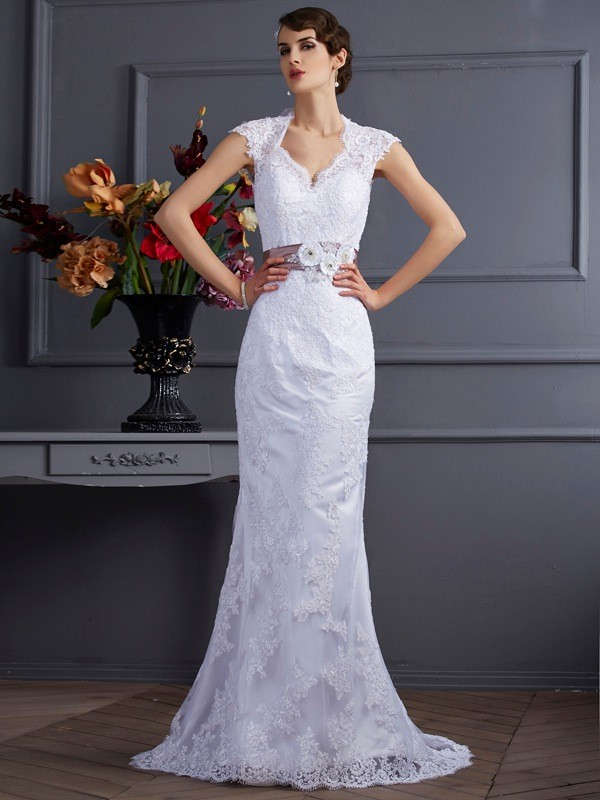 Mermaid Other Brush Train White Wedding Dresses