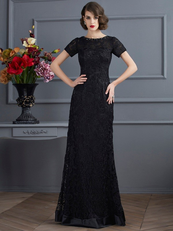 Floor-Length Black Short Sleeves High Neck Prom Dresses with Lace