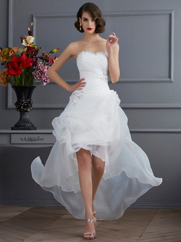 Organza A-Line Asymmetrical Sweetheart White Wedding Dresses