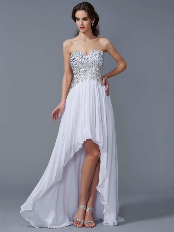 A-Line Chiffon Sweetheart Asymmetrical Prom Dresses with Beading