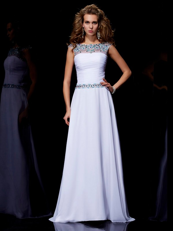 A-Line Scoop Brush Train White Prom Dresses