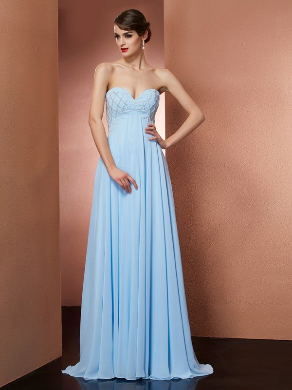 Light Sky Blue A-Line Sweetheart Long Prom Dresses with Beading