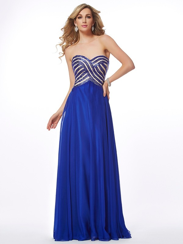 Chiffon Sweetheart Floor-Length Royal Blue Prom Dresses