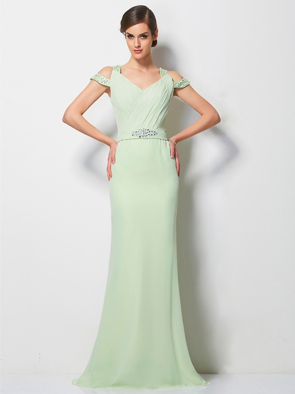 A-Line V-neck Brush Train Sage Prom Dresses