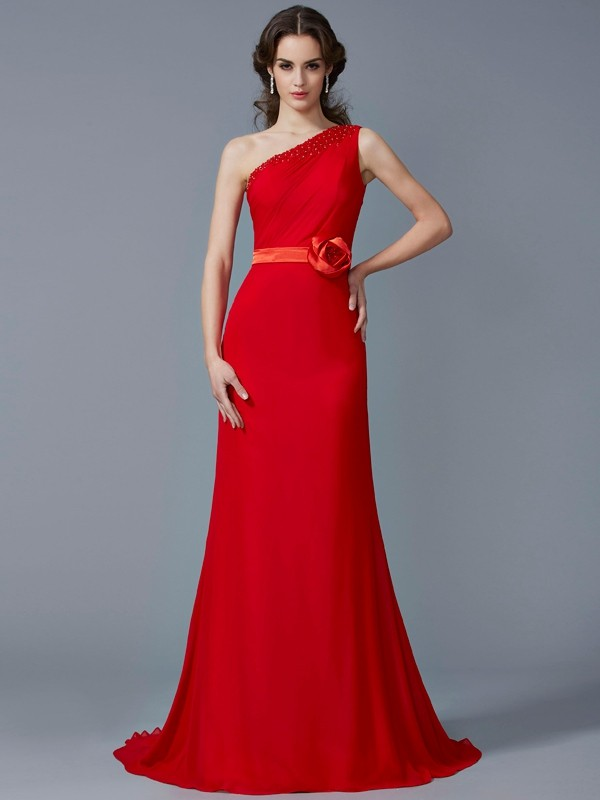 Chiffon A-Line Brush Train One-Shoulder Red Prom Dresses