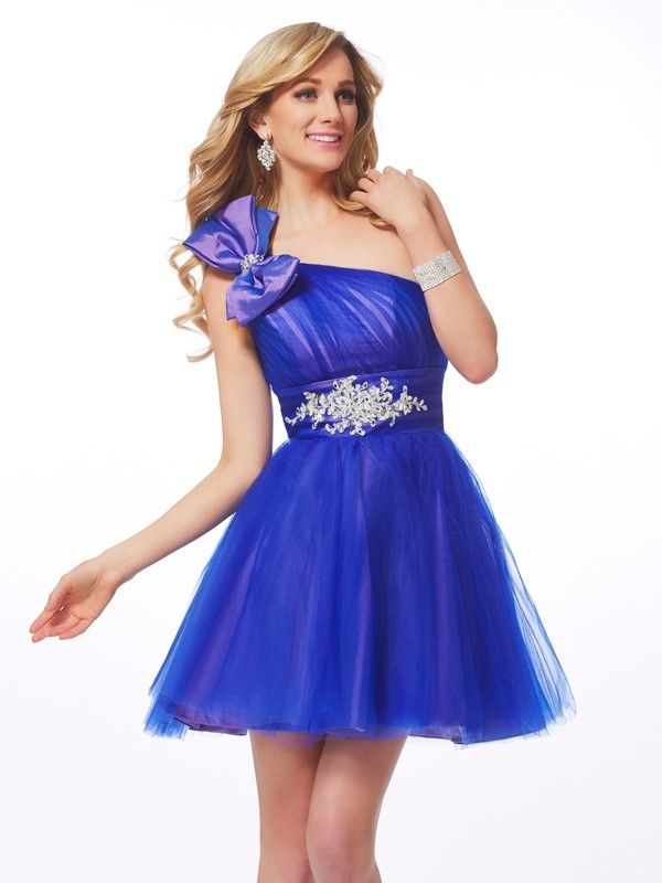 Net One-Shoulder Short/Mini Blue Homecoming Dresses