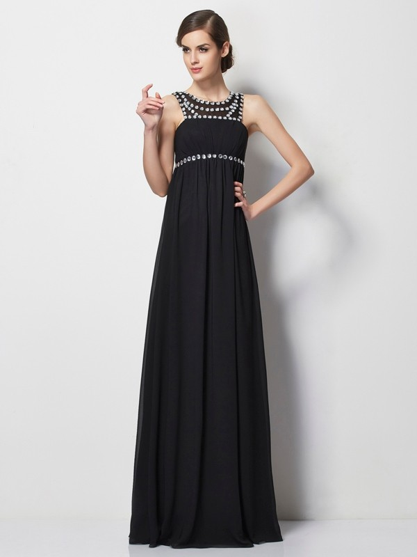 Black Sheath High Neck Floor-Length Prom Dresses with Beading