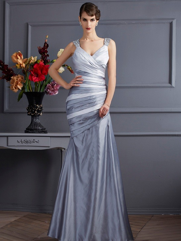 Mermaid Straps Floor-Length Silver Prom Dresses