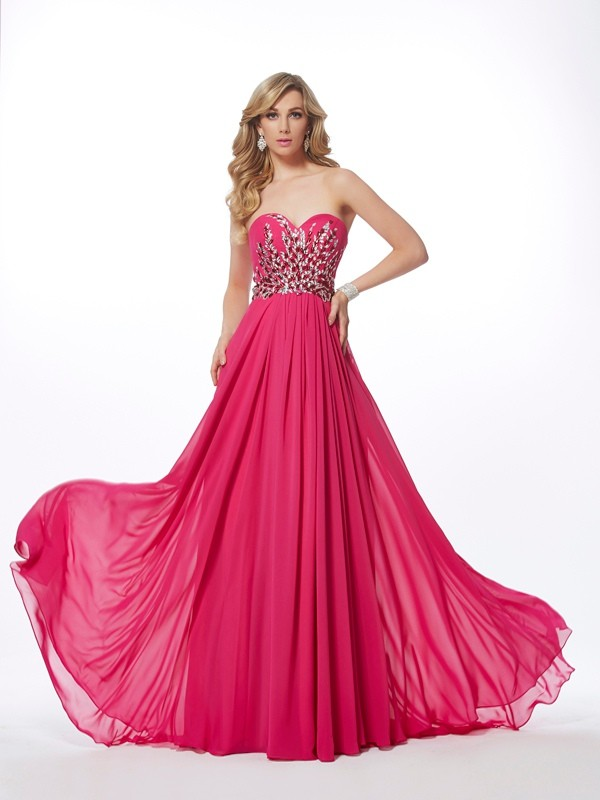 A-Line Sweetheart Brush Train Watermelon Prom Dresses