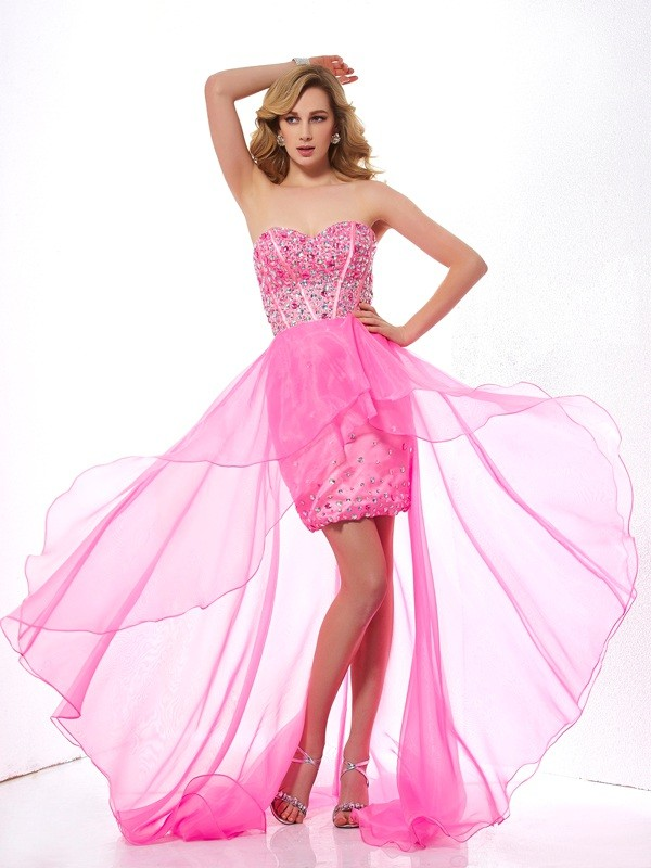 A-Line Sweetheart Asymmetrical Fuchsia Prom Dresses with Beading