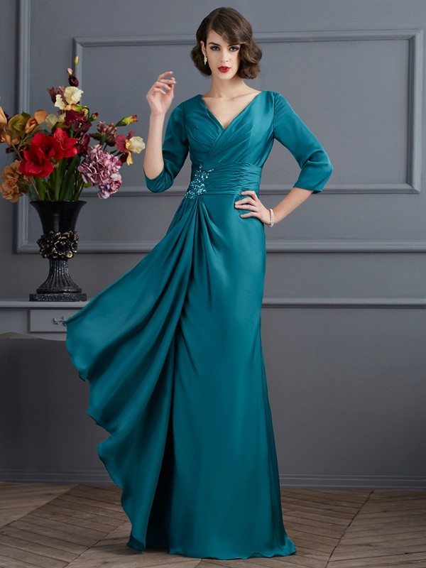 Chiffon A-Line Long 3/4 Sleeves V-neck Dark Green Prom Dresses