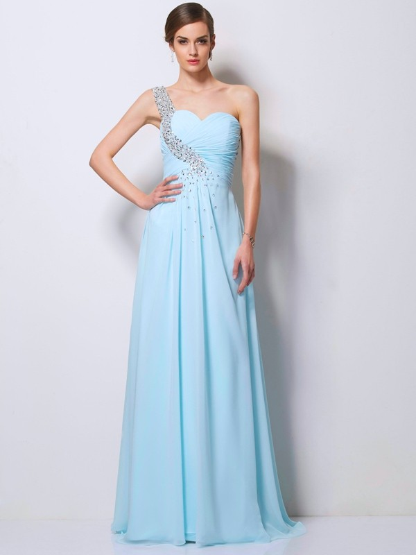 One-Shoulder Floor-Length Light Sky Blue Prom Dresses with Beading