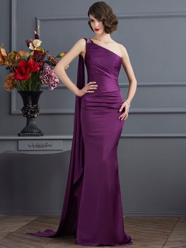 Sheath One-Shoulder Brush Train Regency Prom Dresses