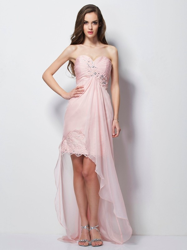 A-Line Sweetheart Asymmetrical Pearl Pink Prom Dresses with Beading