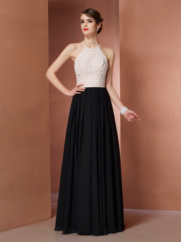 Scoop Floor-Length Black Prom Dresses with Beading