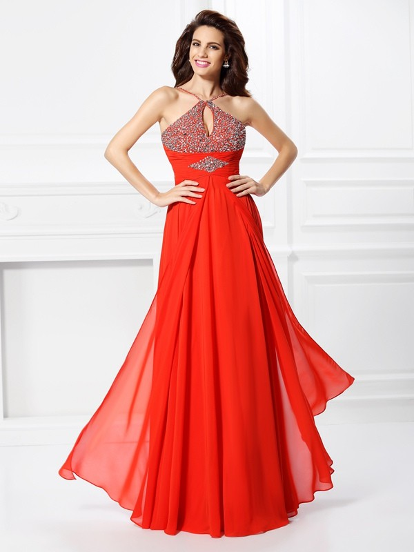 A-Line Other Floor-Length Red Prom Dresses with Beading