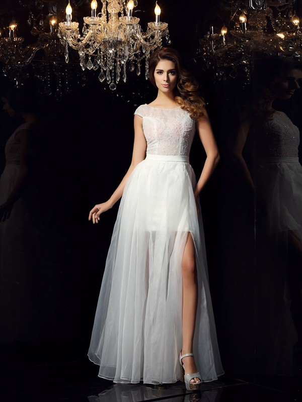 A-Line Tulle Short Sleeves Scoop Floor-Length Ivory Prom Dresses